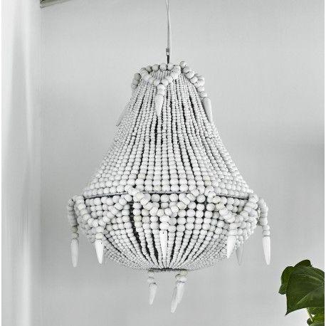 lustre perles blanche en bois nordal travaux maison. Black Bedroom Furniture Sets. Home Design Ideas