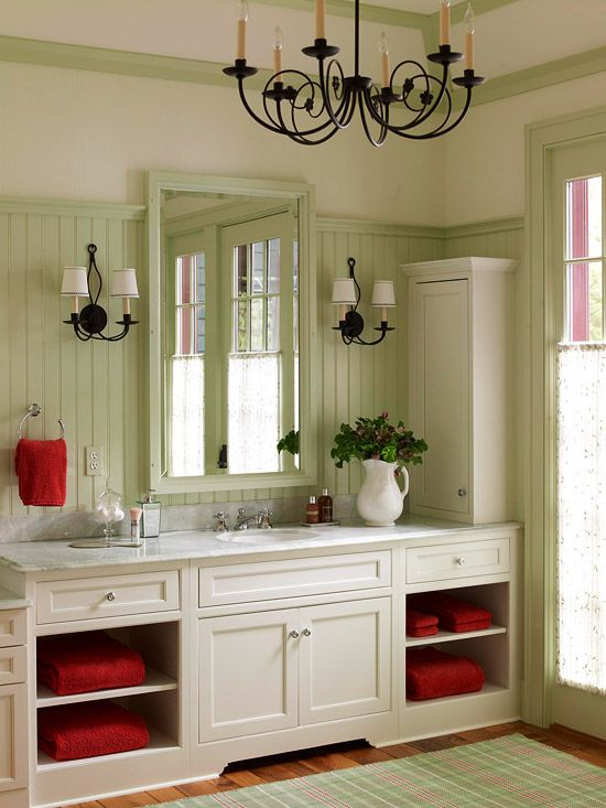 Country Style Bathroom I Want Double Sinks My Own Mirror But Love This Cabinet And Overall Look