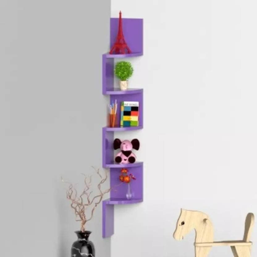 Buy Wood World Home Decor Wall Shelf Zigzag Corner Wall Mount Shelf Unit Lavender 5 Shelves Online At Low Prices In India On Corner Wall Mounted Shelves Decor