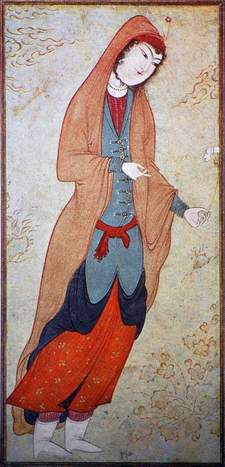Persian, Lady Holding a Sprig  of Flowers,  Late 16th/Early 17th  Century