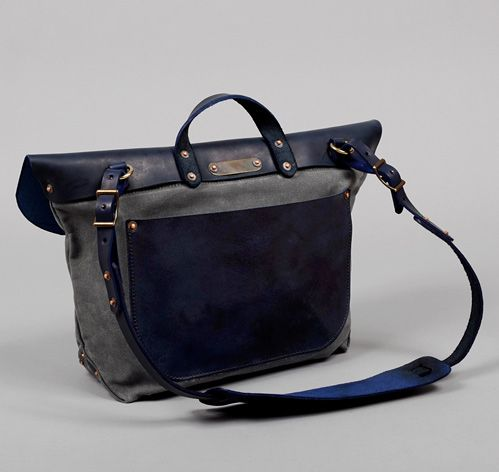 MAIL BAG, GREY WAXED TWILL AND NAVY LEATHER :: HICKOREE'S
