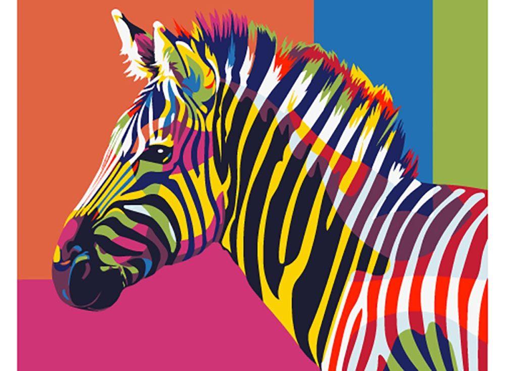 Kartina Po Nomeram Raduzhnaya Zebra Mini Raskraska Raspisannyj Holst Raznocvetnye Zhivotnye Raskraska Po Cifram
