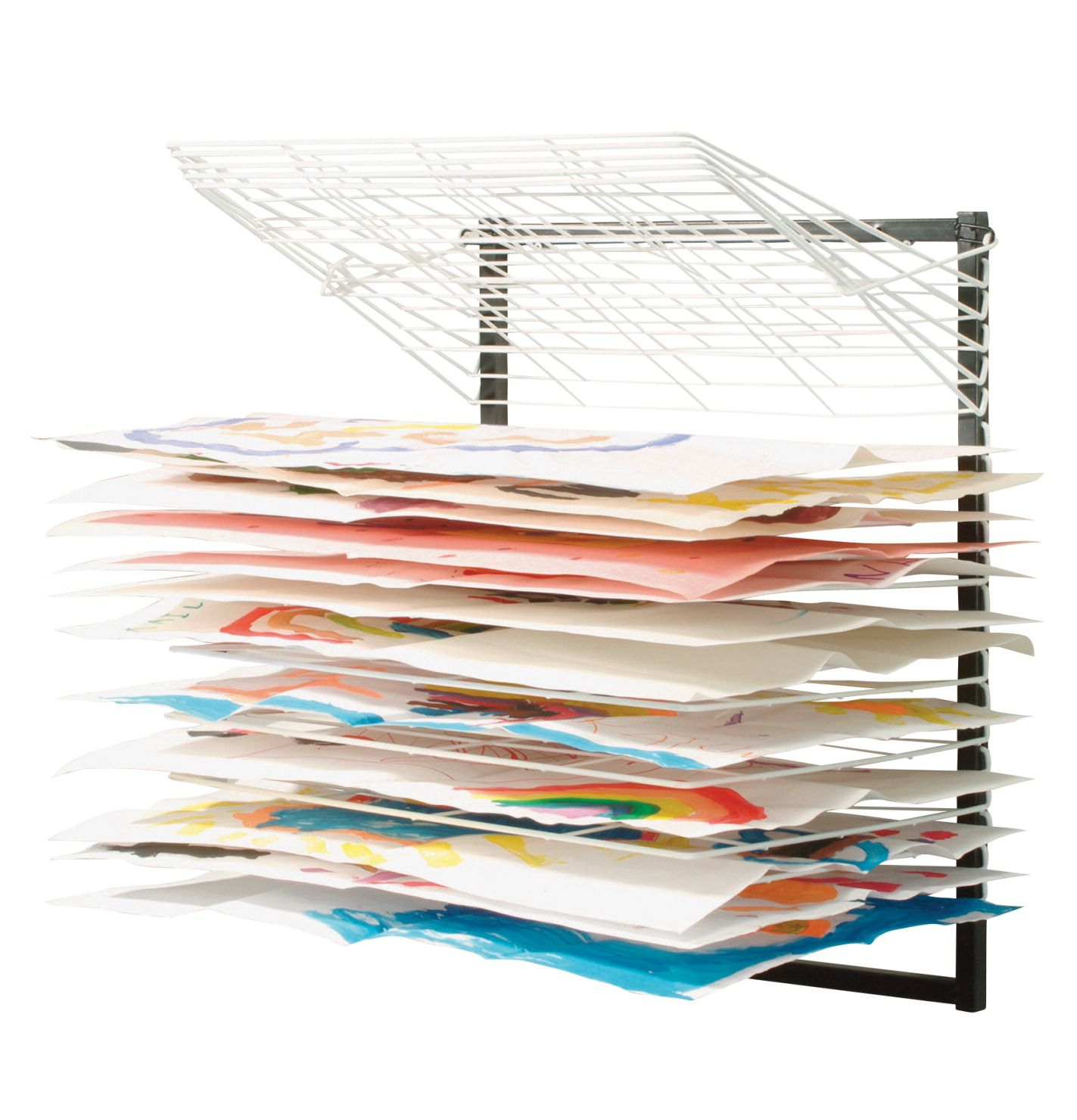 Space saving drying rack for art work. Would be great for our school room!