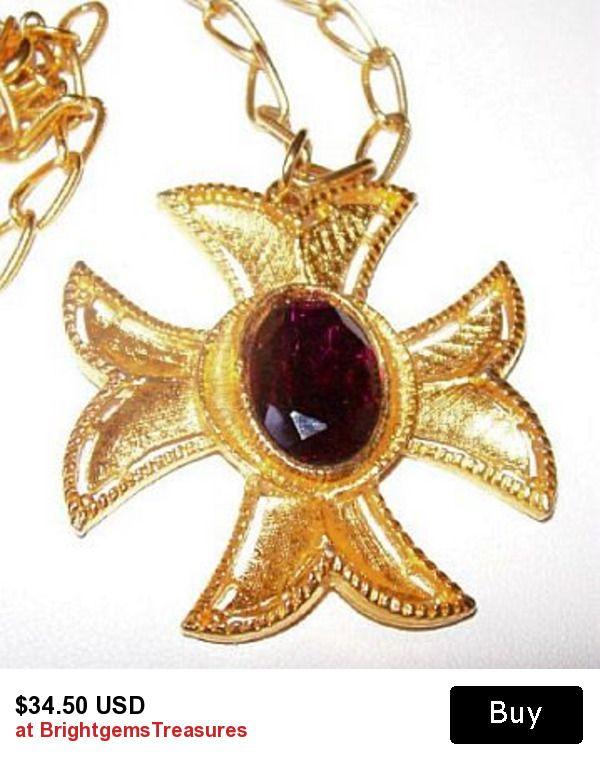 "Maltese Cross Pendant Necklace Purple Rhinestone Gold Metal Large Cable Chain 24"" Vintage"