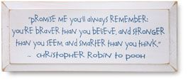 "Christopher Robin said these words to his favorite Bear. Give someone you love a nudge in the direction of courage and confidence or inspire yourself to be better than you know. Off-white plaque has a distressed beveled edge and hanging notch. 7"" x 18"". Made in USA."