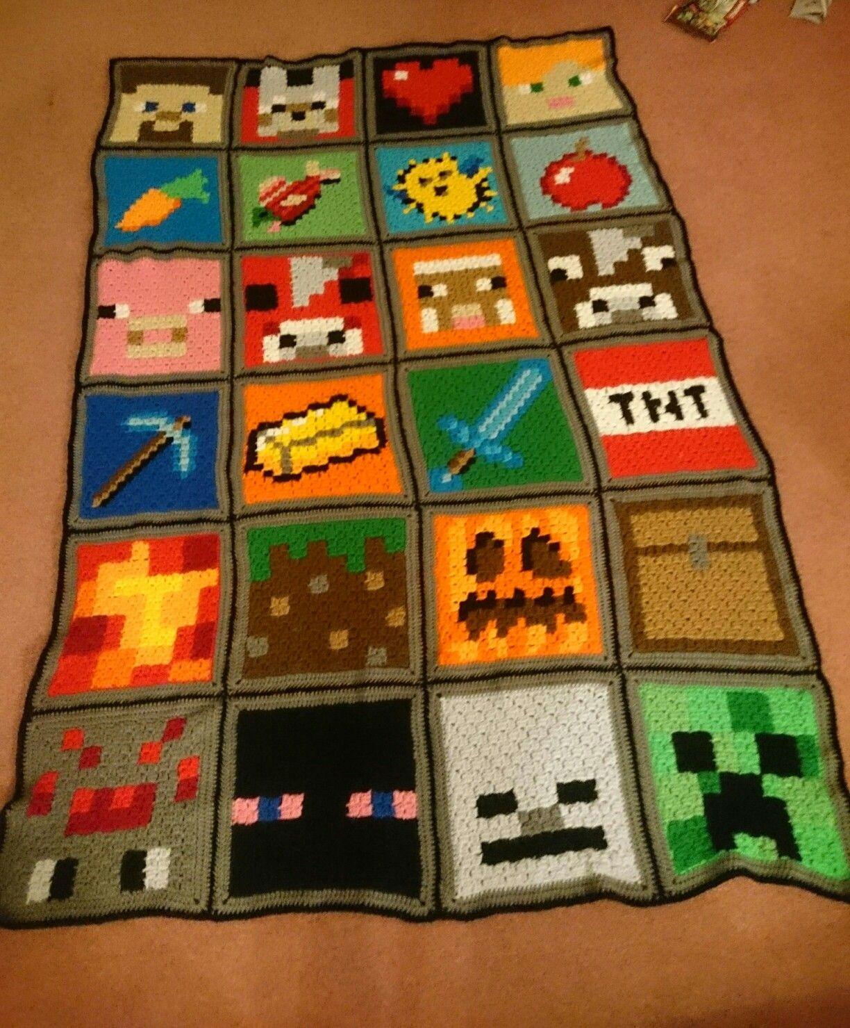 Minecraft Blanket C2c Crochet Minecraft Crochet Patterns