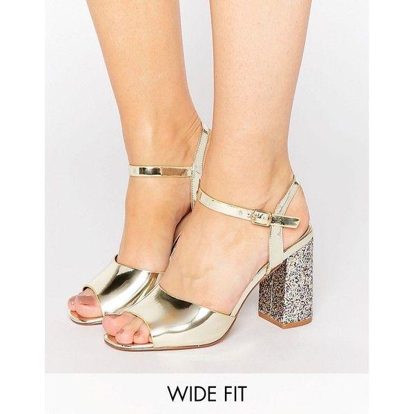 wide fit glitter block heels