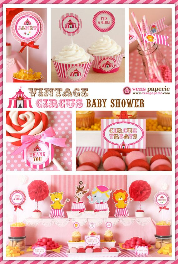 Vintage Pink Carnival Circus Baby Shower Package Personalized FULL Collection Set - PRINTABLE DIY - BS801CA2x on Etsy, $35.00