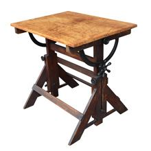 Petite Oak And Maple Drafting Table By Hamilton C1935