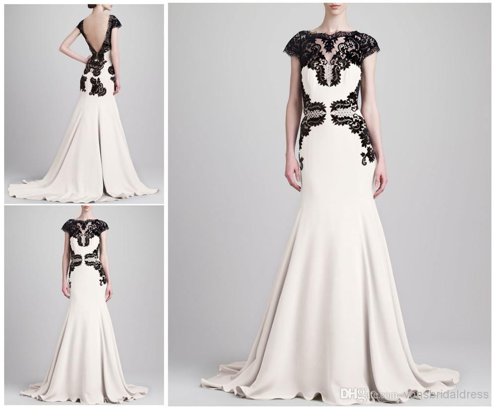 Wholesale Evening Dresses - Buy 2014 Elie Saab Cap Sleeeves Black ...