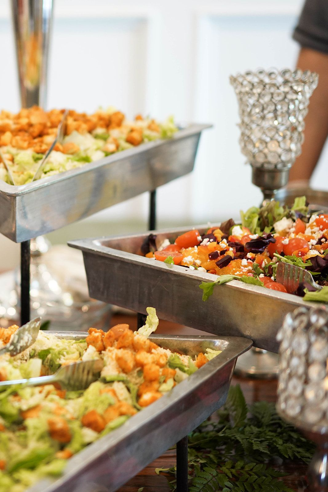 Wedding Salad Bar Display Wedding Catering Ideas Wedding Dinner Ideas Wedding Reception Details We Wedding Reception Food Reception Food Wedding Food