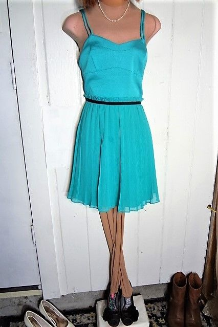 922dae9639d BCBGeneration AQUA BLUE Strappy Back Sz 6 Pleated Lined Dress. Free  shipping and guaranteed authenticity