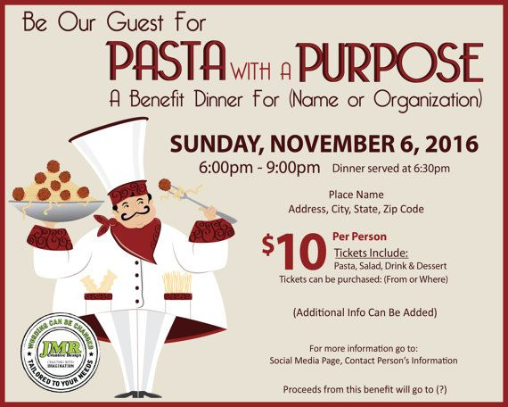 Italian Dinner Fundraiser Flyer Benefit by JMRCreativeDesign - fundraising flyer