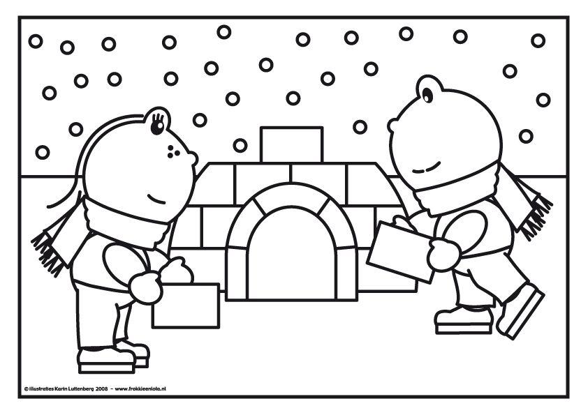 Kleurplaat Frokkie & Lola bouwen een iglo Winter