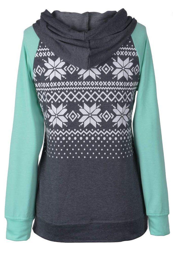 Cupshe Cute Factor Snow Printing Hooded Sweatshirt