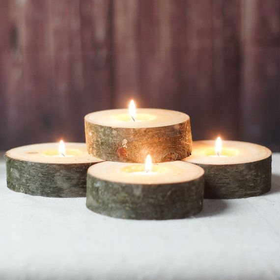 Log Slice Candle Holders Set of 4 Rustic Home by GFTWoodcraft