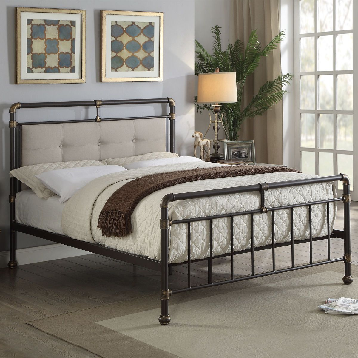 Details about Vintage Industrial Scaffold Style Metal Bed