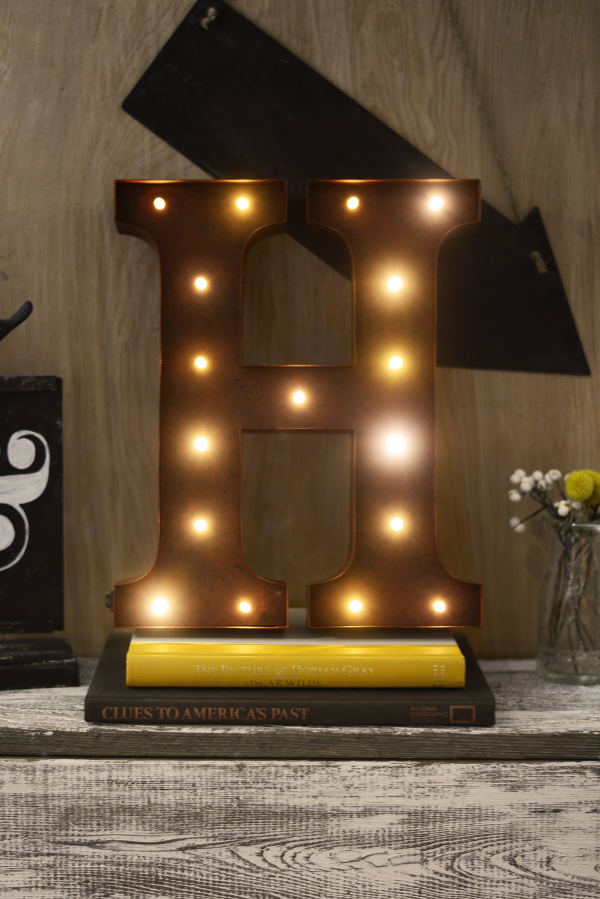 Marquee Letter H 12In Battery Operated 17 Warm White Led