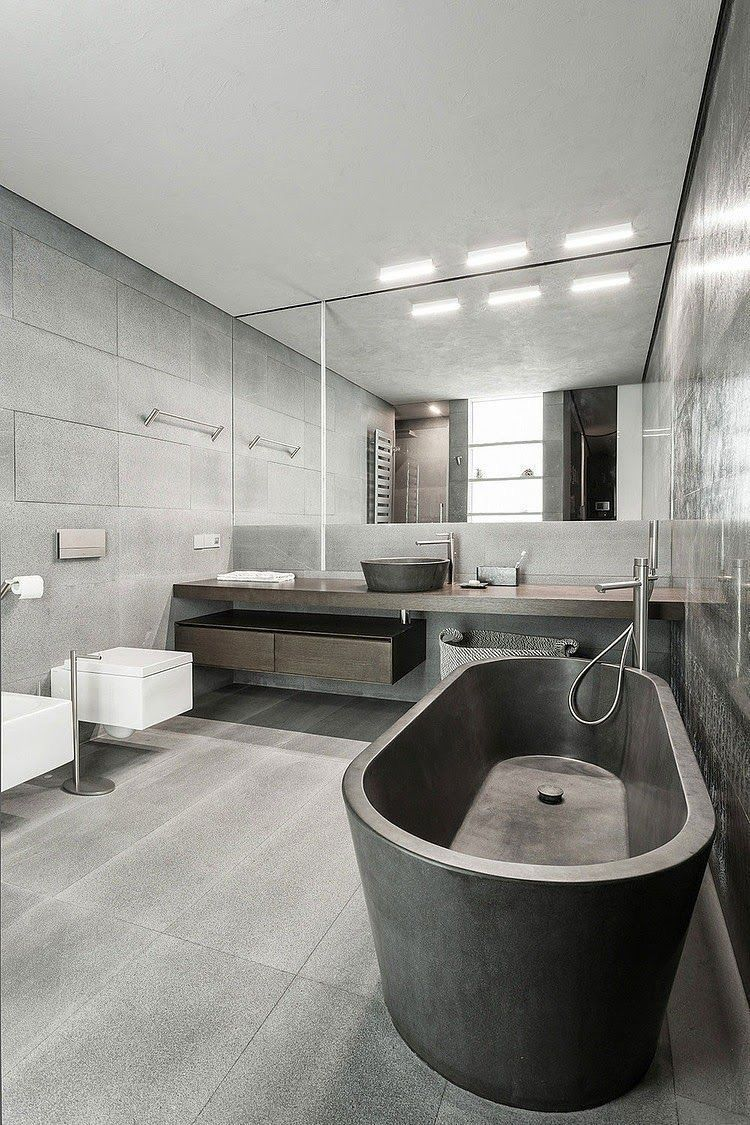 This Ultra Modern Grey Bathroom Design Focuses On Clean Lines And Minimalist Features How Woul Modern Bathroom Design Industrial Bathroom Decor Bathtub Design