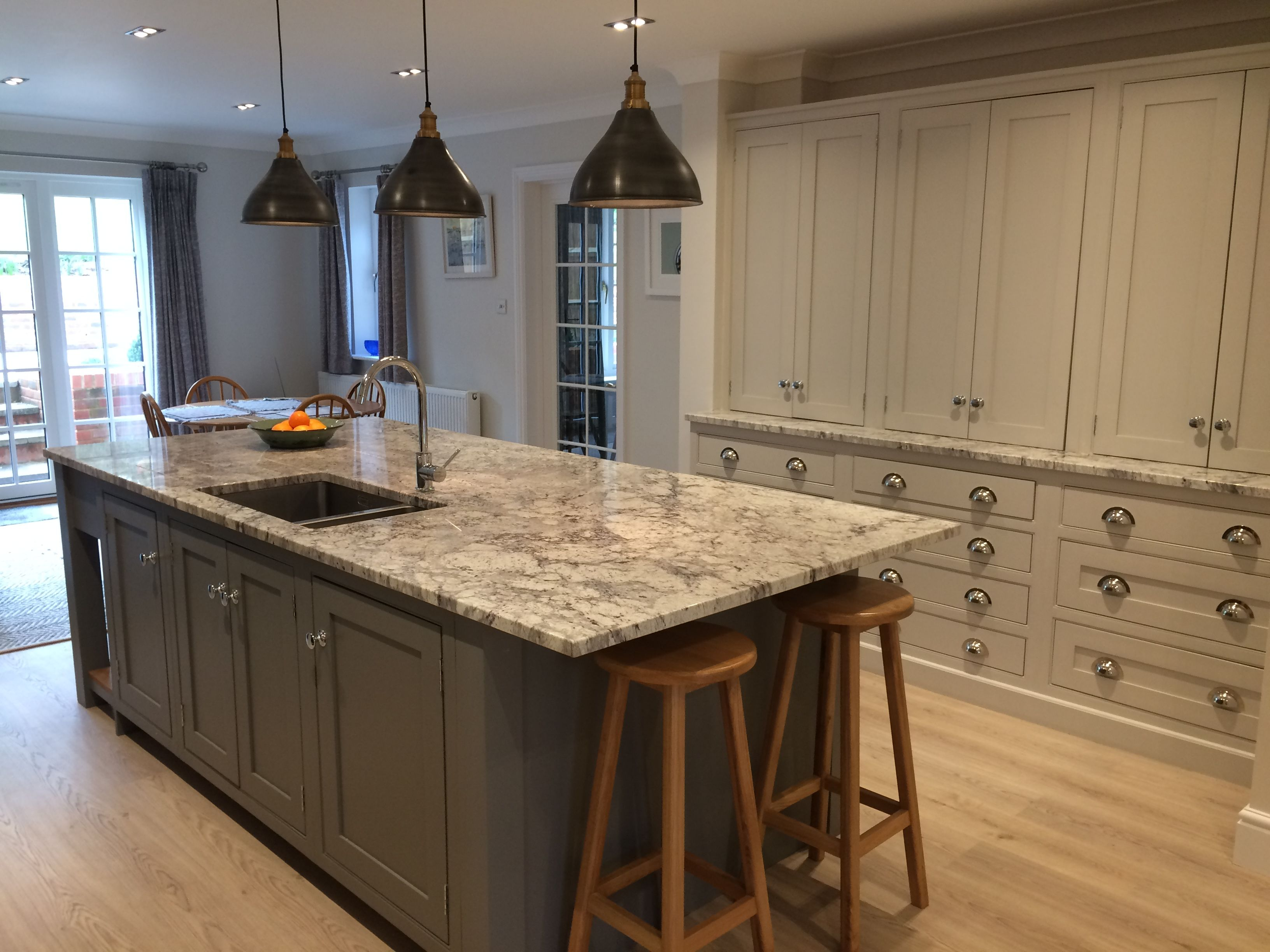 A Stunning Example Of One Of Our Handmade Kitchens With Shaker Doors Painted In Soft Grey With Classic Kitchen Design Classic Kitchens Granite Worktop Kitchen