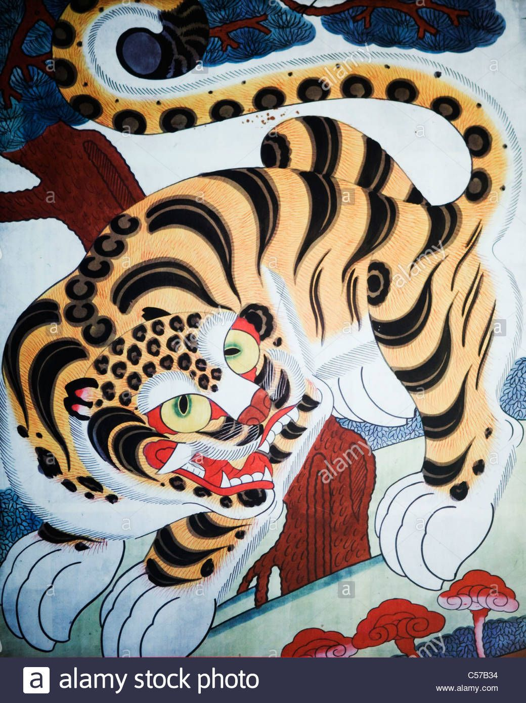Minhwa korean folk painting showing the tiger symbol of courage minhwa korean folk painting showing the tiger symbol of courage and absolute power biocorpaavc Images
