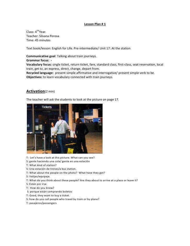 Lesson Plan # 1Class 4THYearTeacher Silvana PerosaTime 45 - lesson plan objectives