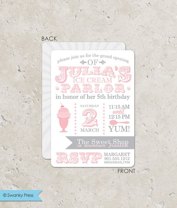 Pink and Gray Ice Cream Invitations - birthday or baby shower. $45.00, via Etsy. Good wording