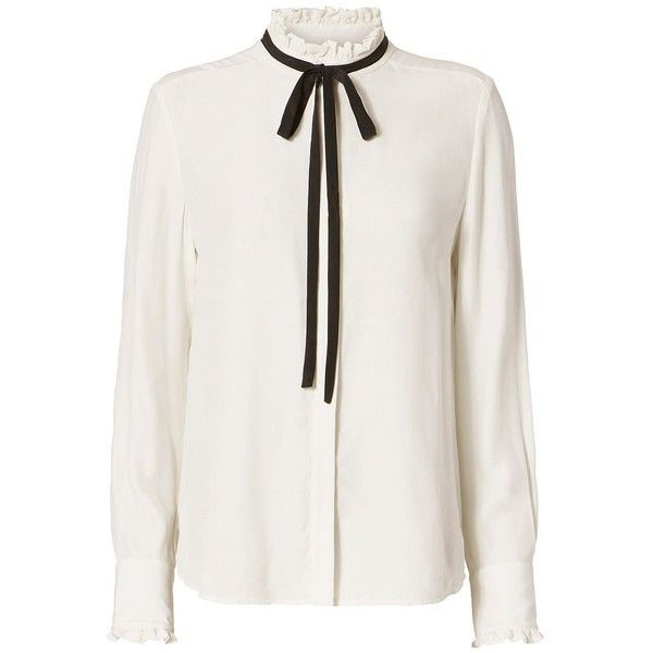 FRAME Women's Contrast Tie Ruffle Blouse (3.830 ARS) ❤ liked on Polyvore featuring tops, blouses, shirts, white, long white shirt, ruffle blouse, flutter sleeve blouse, long sleeve blouse and ruffle sleeve shirt