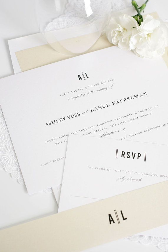Champagne Wedding Invitations - Modern, Vintage, Classic, Block Font ...