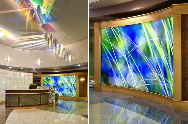 Lancaster women and babies illuminated led backlit glass art walls