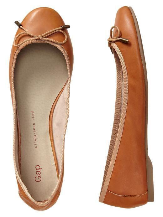 Gap, Leather Ballet Flats, Cognac