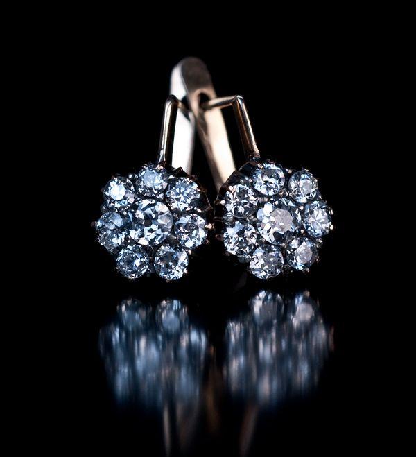Antique Russian Diamond Cer Earrings 56 Zolotniks 14k Rose Gold