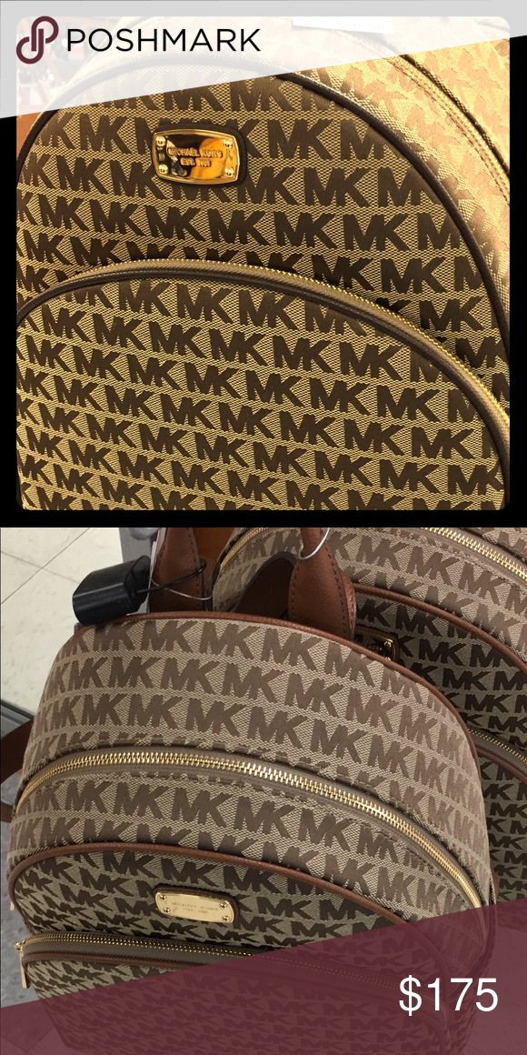 ed6b3c37e MK monogram canvas backpack in brown Gently loved Authentic Michael Kors  Large Abbey Backpack. Signature Brown And Tan Logo Fabric.
