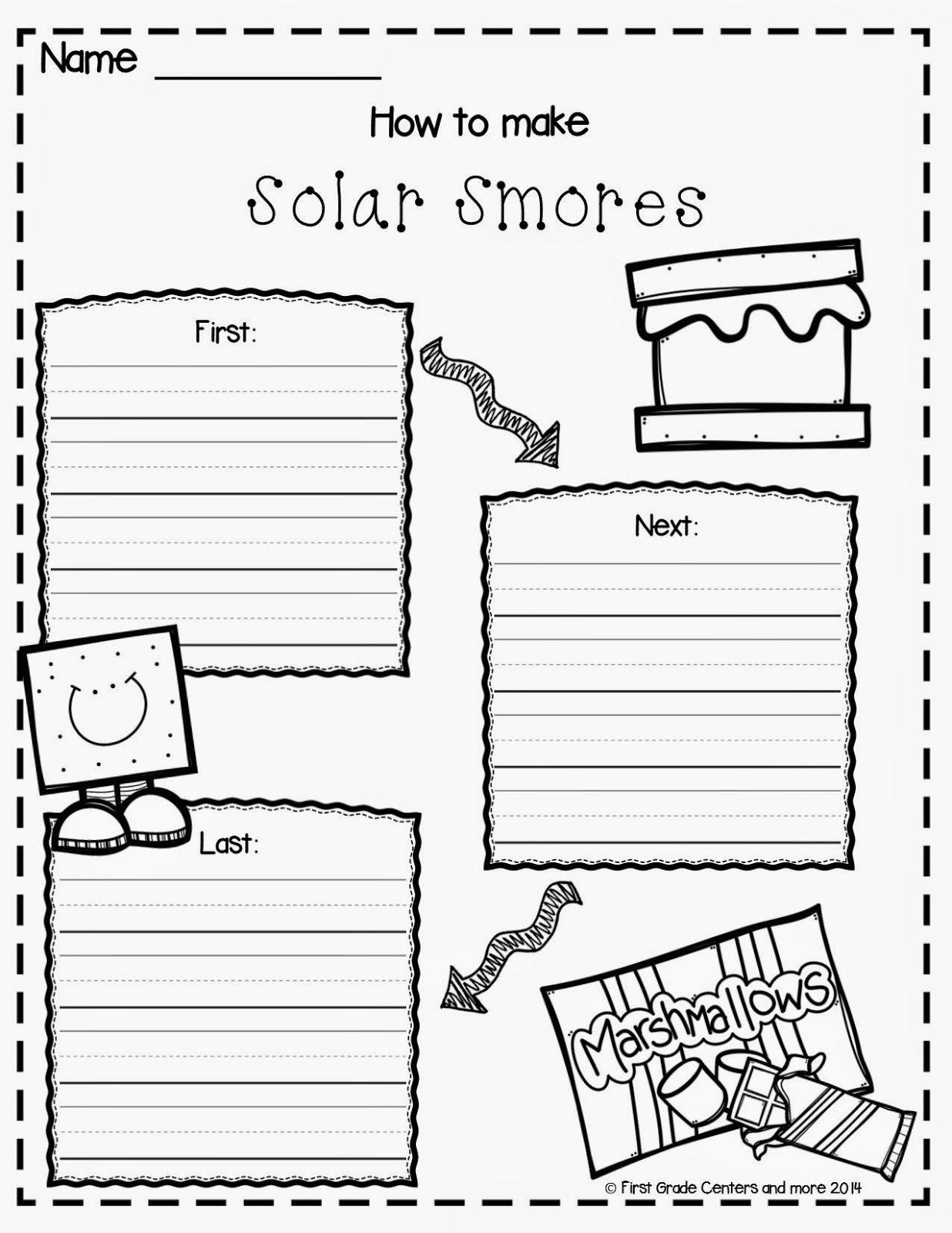 Solar Smores Writing Freebie
