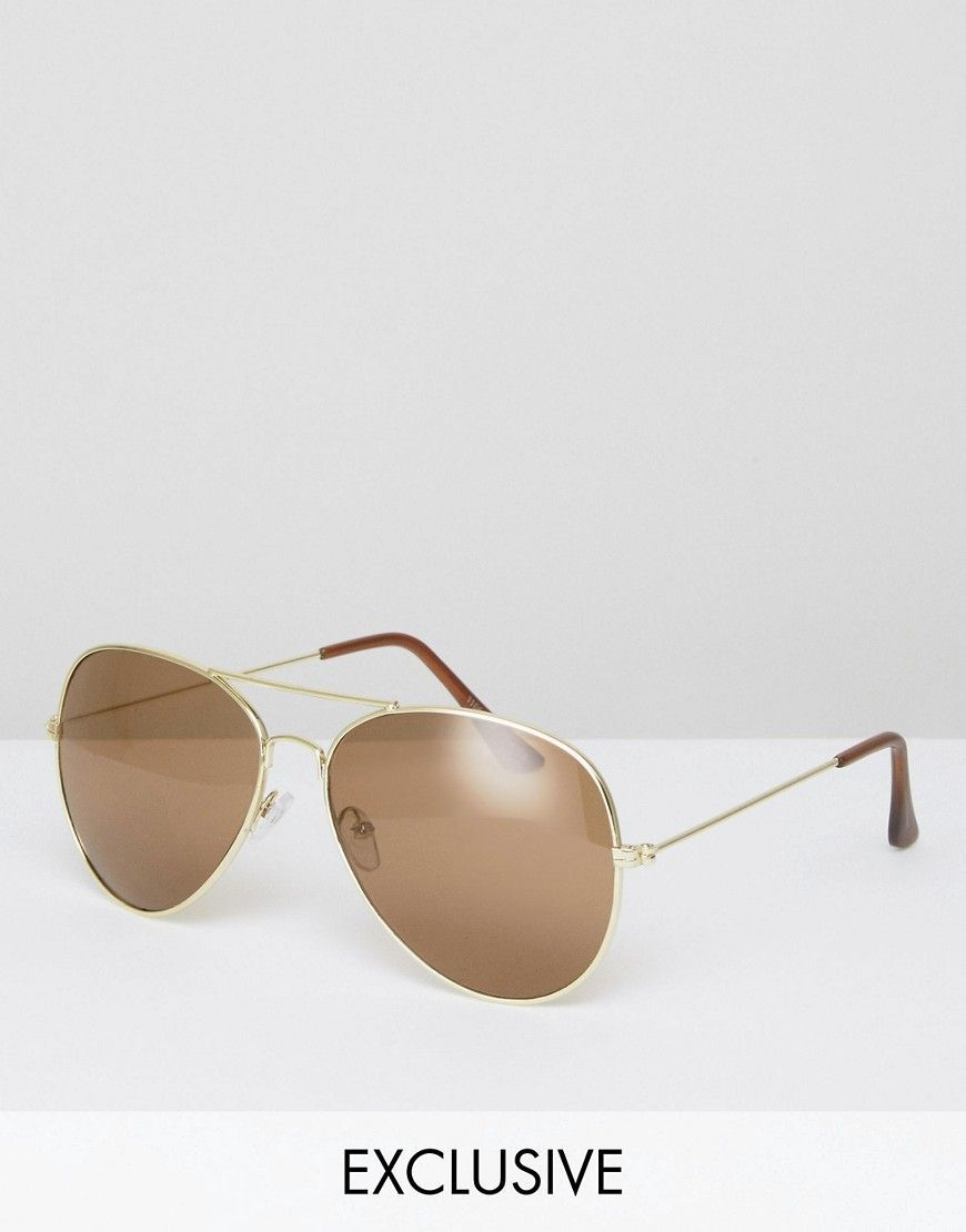 abbd1b5781 Reclaimed Vintage Aviator Sunglasses - Gold