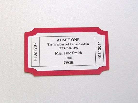 Movie Ticket - Place Card - Escort Card - Customized - movie ticket template free download