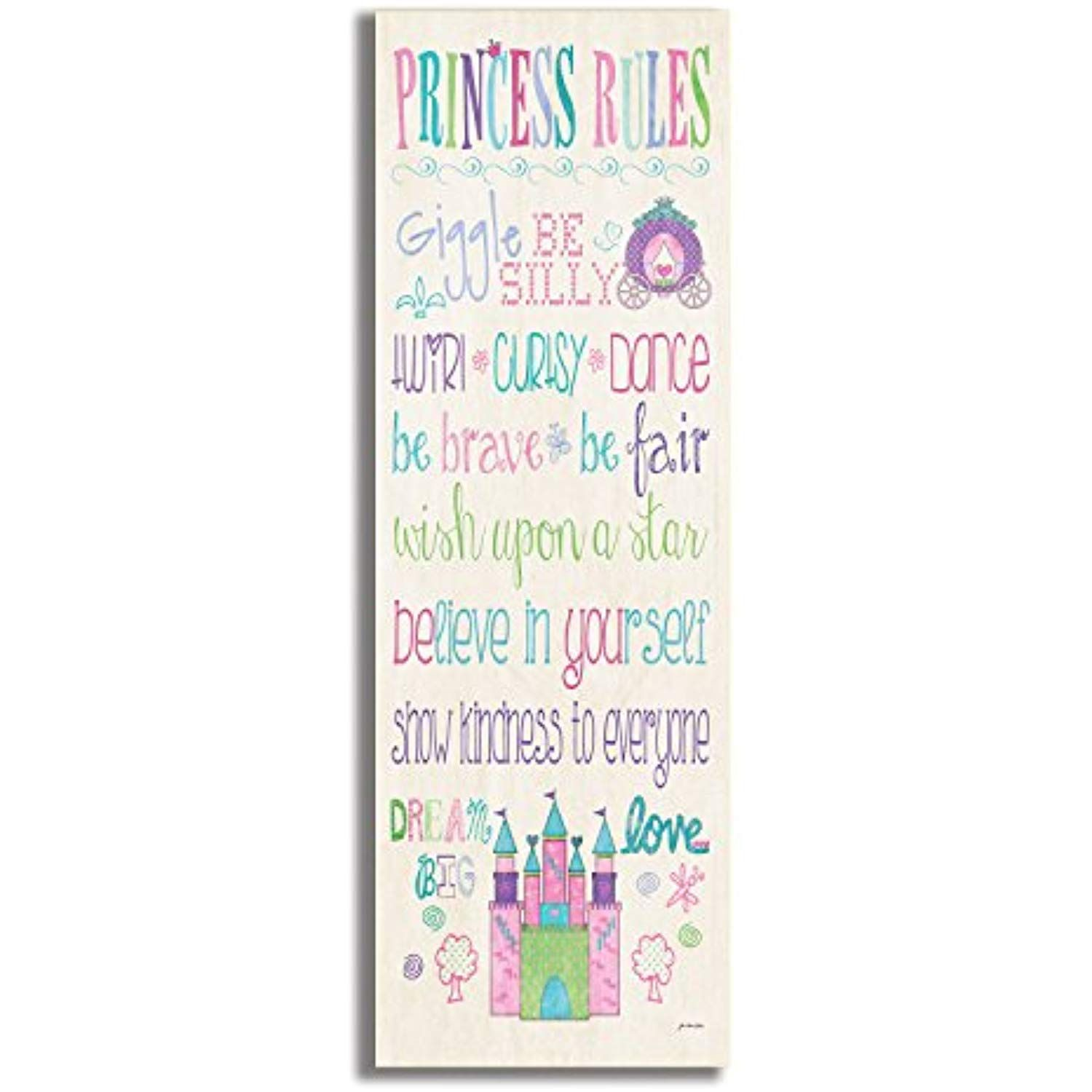 The Kids Room By Stupell Princess Rules With Castle And Carriage Rectangle Wall Plaque 7 X 0 5 X 17 Proudly Ma Art Wall Kids Girls Wall Art Princess Wall Art