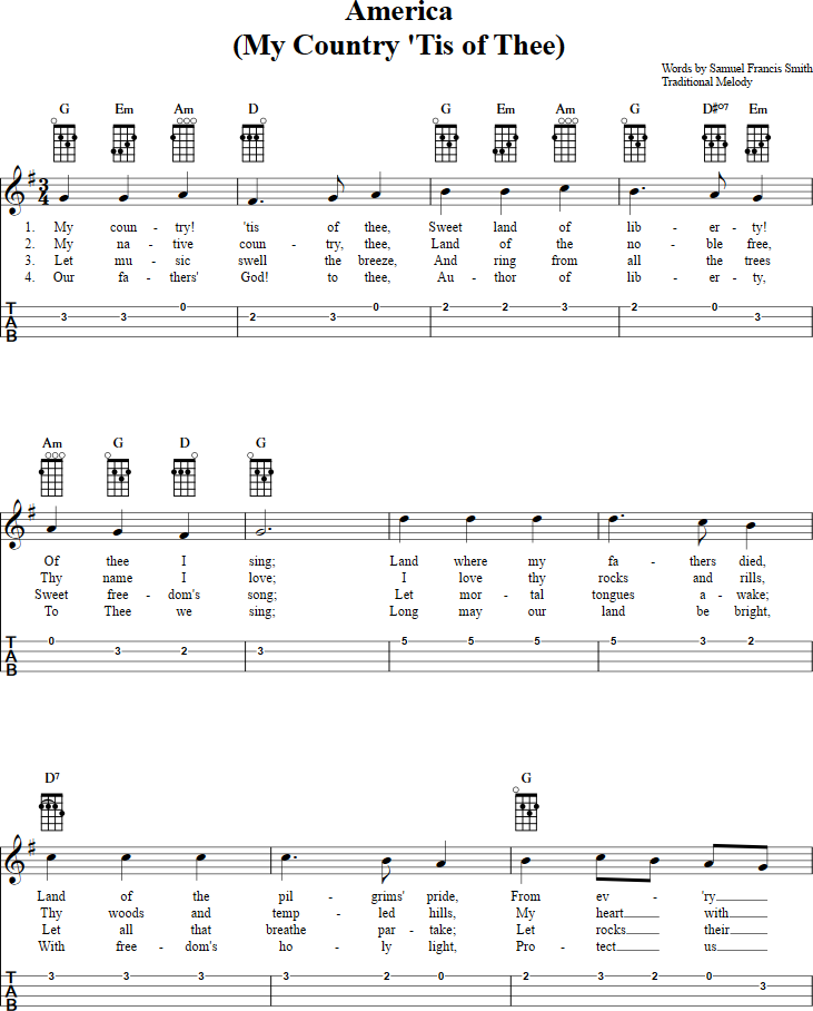Lyric my country tis of thee lyrics : My Country 'Tis of Thee Ukulele Tab. Full music available http ...