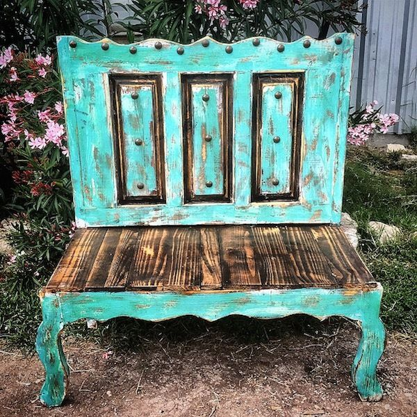 Lovely Old Door Style Bench   Sofiau0027s Rustic Furniture