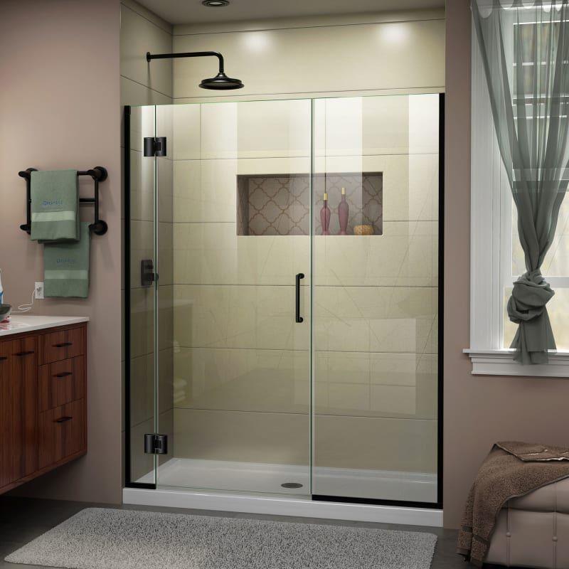 Dreamline D12730572 Unidoor X 72 High X 64 Wide Hinged Frameless Shower Door W Satin Black Showers Shower Doors Hinged In 2020 Frameless Shower Doors Shower Doors Frameless Shower