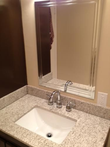 W Granite Vanity Top In Golden Hill With Trough Sink And 8 In. Faucet Spread
