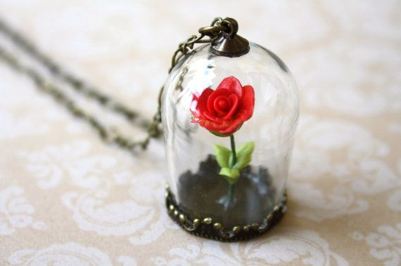Beauty And The Beast Enchanted Red Rose Necklace Gl Terrarium Captured On Etsy