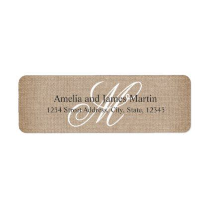 Burlap Rustic Monogram For Weddings Label  Barn Wedding Gifts