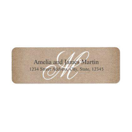 Burlap Rustic Monogram for Weddings Label - barn wedding gifts - wedding labels template