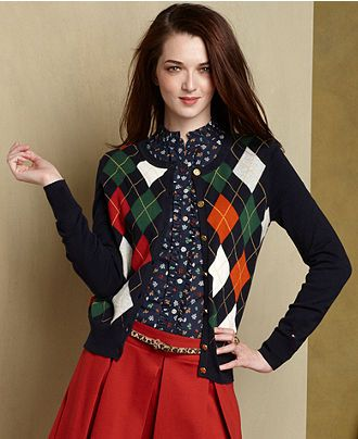 Tommy Hilfiger Sweater, Long-Sleeve Argyle Cardigan - Womens Sweaters - Macy's