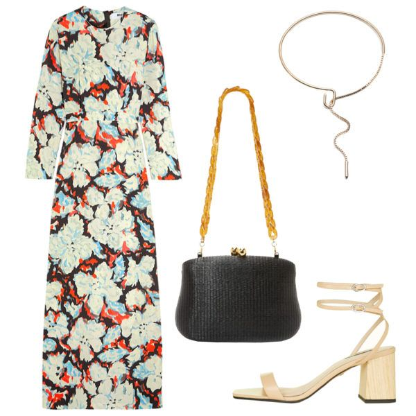 Temper a vibrant head-to-toe print with textured accessories in neutral tones