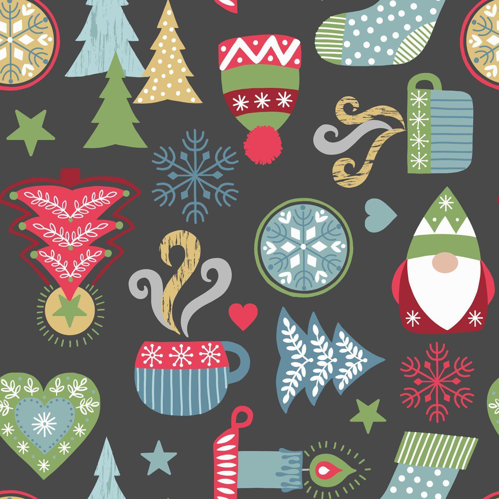 Hygge Christmas on Slate Fabric Hygge christmas