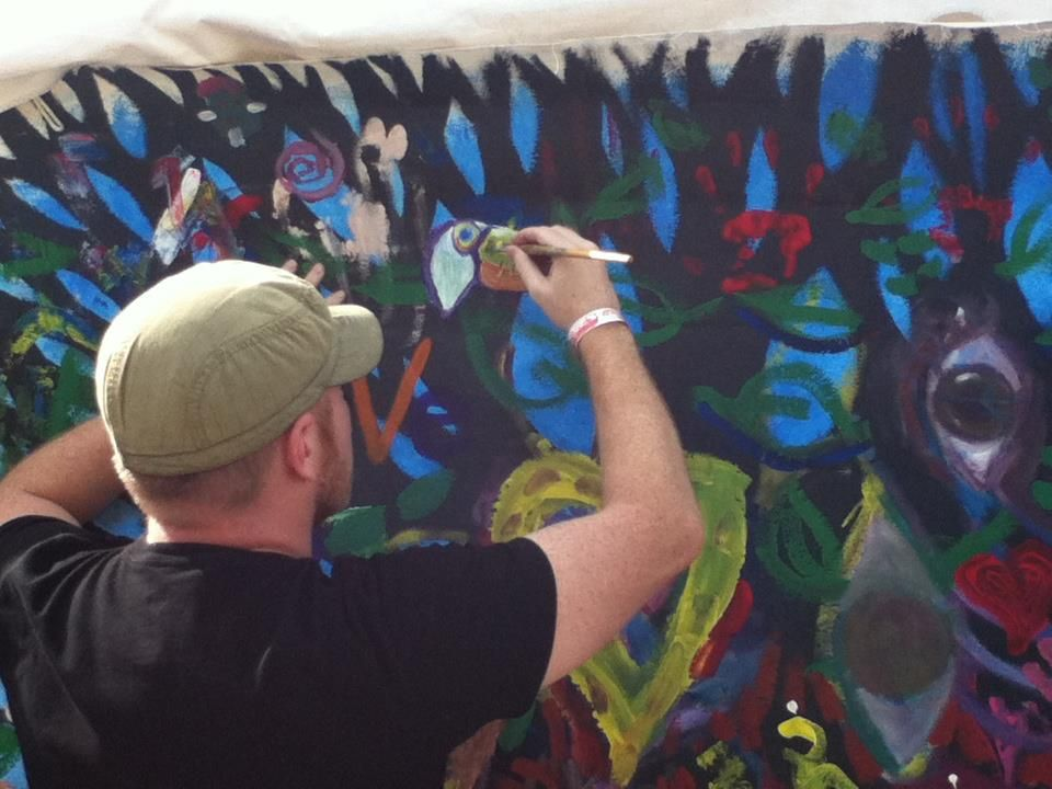 Painting a Toucan at the 2012 One Love Nutrifest (reggae festival), for the Voices United community painting.