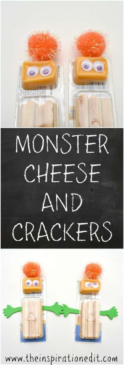 Halloween Monsters Cheese And Crackers Snack Snacks ideas - halloween treat ideas for toddlers