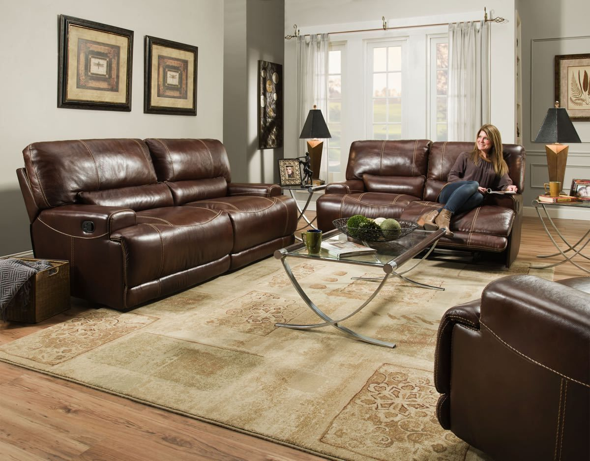 El Paso Walnut Motion Sofa And Love Seat Top Grain Leather Match By  Corinthian Double Reclining